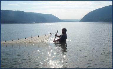 student netting in lake