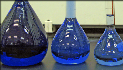 Blue Chemicals in Flasks